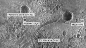 The first image of the Perseverance rover on the surface was taken from the High Resolution Imaging Experiment camera aboard Nasa's Mars Reconnaissance Orbiter.