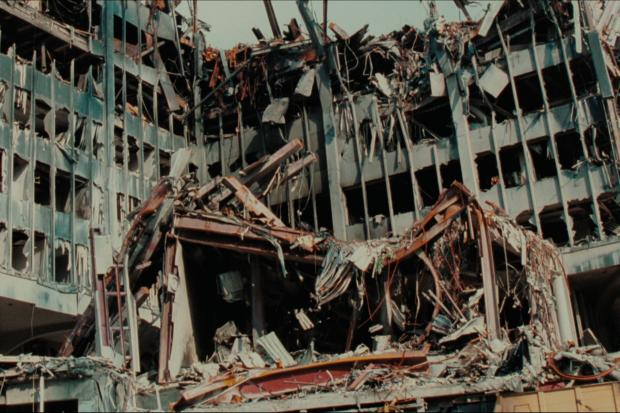 Northwich Guardian: The mangled remains of the fallen WTC towers. (Netflix)