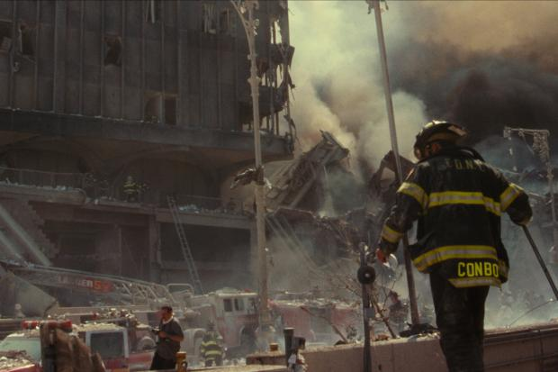 Northwich Guardian: A first responder digs through the remains of the fallen WTC towers. (Netflix)