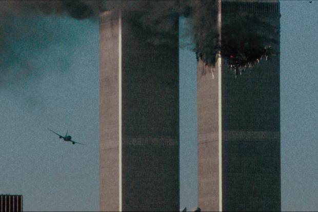 Northwich Guardian: The second hijacked airplane just seconds before it strikes the second tower. (Netflix)