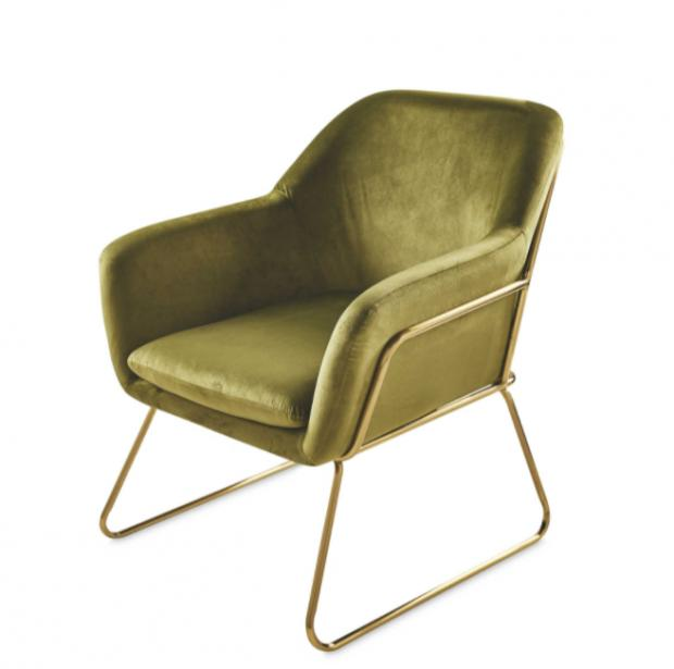 Northwich Guardian: Metal Frame Olive Arm Chair. (Aldi)